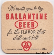 Ballantine Beer We Invite You Beer Coaster