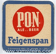 Feigenspan P O N Beer Coaster