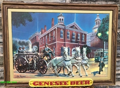 Genesee Beer Plastic Insert Horse Drawn Fire Pump Sign by Mel Bolden